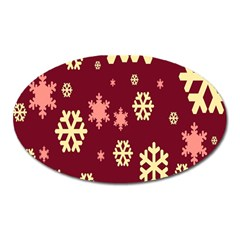 Snowflake Winter Illustration Colour Oval Magnet