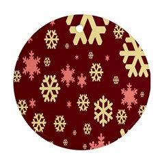 Snowflake Winter Illustration Colour Round Ornament (two Sides)