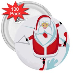 Surfing Snow Christmas Santa Claus 3  Buttons (100 Pack)
