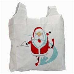 Surfing Snow Christmas Santa Claus Recycle Bag (two Side)