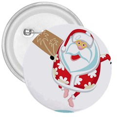 Surfing Christmas Santa Claus 3  Buttons