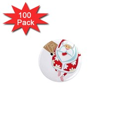 Surfing Christmas Santa Claus 1  Mini Magnets (100 Pack)