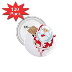 Surfing Christmas Santa Claus 1 75  Buttons (100 Pack)