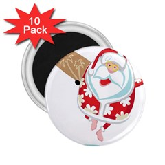 Surfing Christmas Santa Claus 2 25  Magnets (10 Pack)