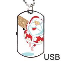 Surfing Christmas Santa Claus Dog Tag Usb Flash (two Sides)