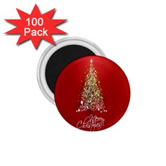 Tree Merry Christmas Red Star 1 75  Magnets (100 Pack)