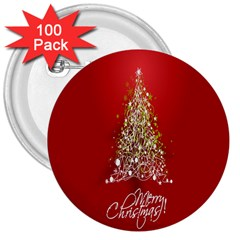 Tree Merry Christmas Red Star 3  Buttons (100 Pack)