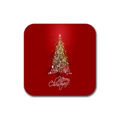 Tree Merry Christmas Red Star Rubber Coaster (square)