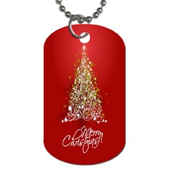 Tree Merry Christmas Red Star Dog Tag (two Sides)