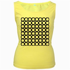 Tileable Circle Pattern Polka Dots Women s Yellow Tank Top
