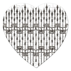 Iron Fence Grey Strong Jigsaw Puzzle (heart)