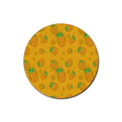 Fruit Pineapple Yellow Green Rubber Round Coaster (4 Pack)
