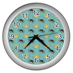 Spider Grey Orange Animals Cute Cartoons Wall Clocks (silver)