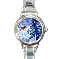 Christmas Wooden Snow Round Italian Charm Watch