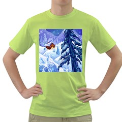 Christmas Wooden Snow Green T Shirt
