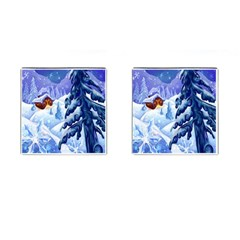 Christmas Wooden Snow Cufflinks (square)