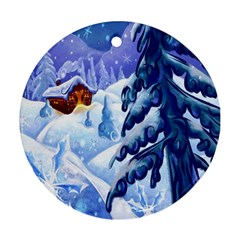 Christmas Wooden Snow Round Ornament (two Sides)
