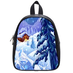 Christmas Wooden Snow School Bag (small)