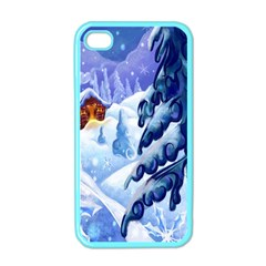 Christmas Wooden Snow Apple Iphone 4 Case (color)