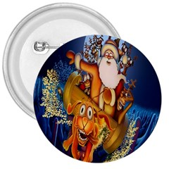 Deer Santa Claus Flying Trees Moon Night Christmas 3  Buttons