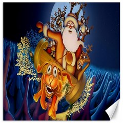 Deer Santa Claus Flying Trees Moon Night Christmas Canvas 16  X 16