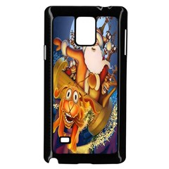 Deer Santa Claus Flying Trees Moon Night Christmas Samsung Galaxy Note 4 Case (black)