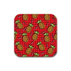 Fruit Pineapple Red Yellow Green Rubber Square Coaster (4 Pack)