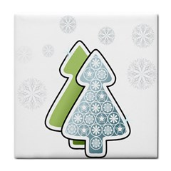 Tree Spruce Xmasts Cool Snow Tile Coasters