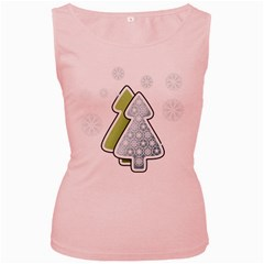 Tree Spruce Xmasts Cool Snow Women s Pink Tank Top