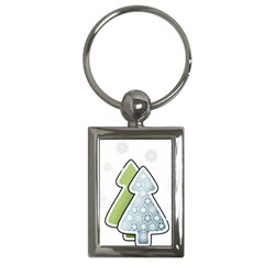 Tree Spruce Xmasts Cool Snow Key Chains (rectangle)
