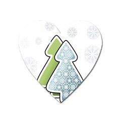 Tree Spruce Xmasts Cool Snow Heart Magnet
