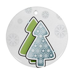 Tree Spruce Xmasts Cool Snow Round Ornament (two Sides)
