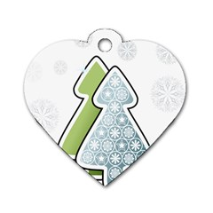 Tree Spruce Xmasts Cool Snow Dog Tag Heart (two Sides)