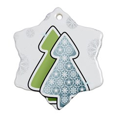 Tree Spruce Xmasts Cool Snow Snowflake Ornament (two Sides)