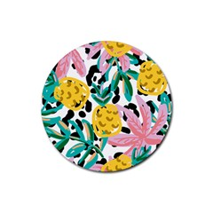 Fruit Pattern Pineapple Leaf Rubber Coaster (round)