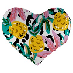 Fruit Pattern Pineapple Leaf Large 19  Premium Flano Heart Shape Cushions