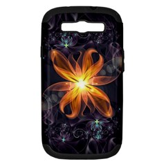 Beautiful Orange Star Lily Fractal Flower At Night Samsung Galaxy S Iii Hardshell Case (pc+silicone)