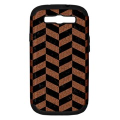 Chevron1 Black Marble & Brown Denim Samsung Galaxy S Iii Hardshell Case (pc+silicone)