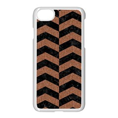 Chevron2 Black Marble & Brown Denim Apple Iphone 8 Seamless Case (white)