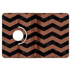 Chevron3 Black Marble & Brown Denim Kindle Fire Hdx Flip 360 Case
