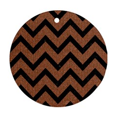 Chevron9 Black Marble & Brown Denim Round Ornament (two Sides)
