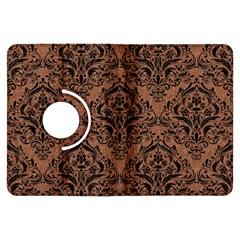 Damask1 Black Marble & Brown Denim Kindle Fire Hdx Flip 360 Case