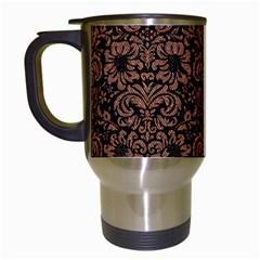 Damask2 Black Marble & Brown Denim (r) Travel Mugs (white)