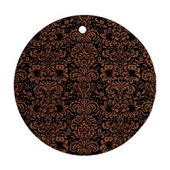 Damask2 Black Marble & Brown Denim (r) Round Ornament (two Sides)