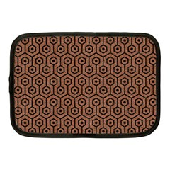 Hexagon1 Black Marble & Brown Denim Netbook Case (medium)