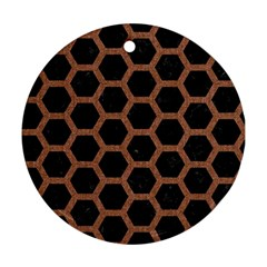 Hexagon2 Black Marble & Brown Denim (r) Round Ornament (two Sides)
