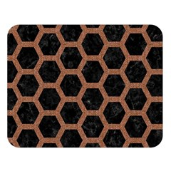 Hexagon2 Black Marble & Brown Denim (r) Double Sided Flano Blanket (large)
