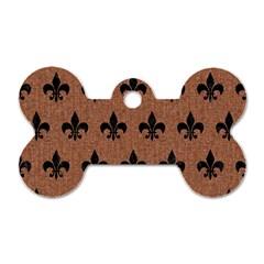 Royal1 Black Marble & Brown Denim (r) Dog Tag Bone (one Side)