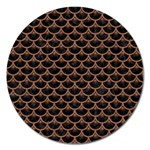 SCALES3 BLACK MARBLE & BROWN DENIM (R) Magnet 5  (Round) Front