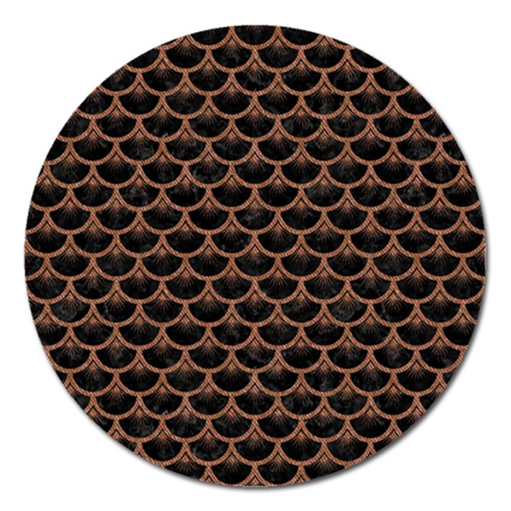 SCALES3 BLACK MARBLE & BROWN DENIM (R) Magnet 5  (Round)